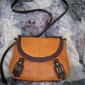 LUCKY BRAND Caramel Brown Leather Crossbody Bag